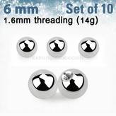 Set of 10 pcs. surgical steel balls
