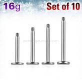 Set of 10 pcs. surgical steel labret