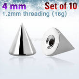 Set of 10 pcs. surgical steel cones