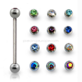 Surgical steel tongue barbell