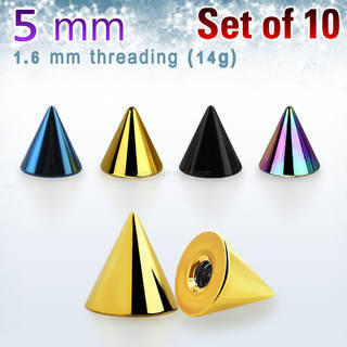 Pack of 10 pcs. of 5mm anodized surgical steel cones