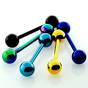 Anodized surgical steel tongue barbell