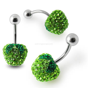 Crystal stone Green Apple Belly Ring