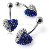 Crystal stone Heart Belly Ring