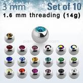Set of 10 pcs. balls with crystal